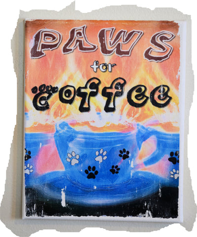 Paws for Coffee 8 x 10 Canvas Art (blue cup - black coffee)