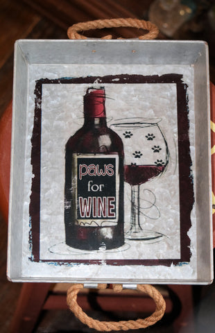 Paws for Wine Galvanized Tray