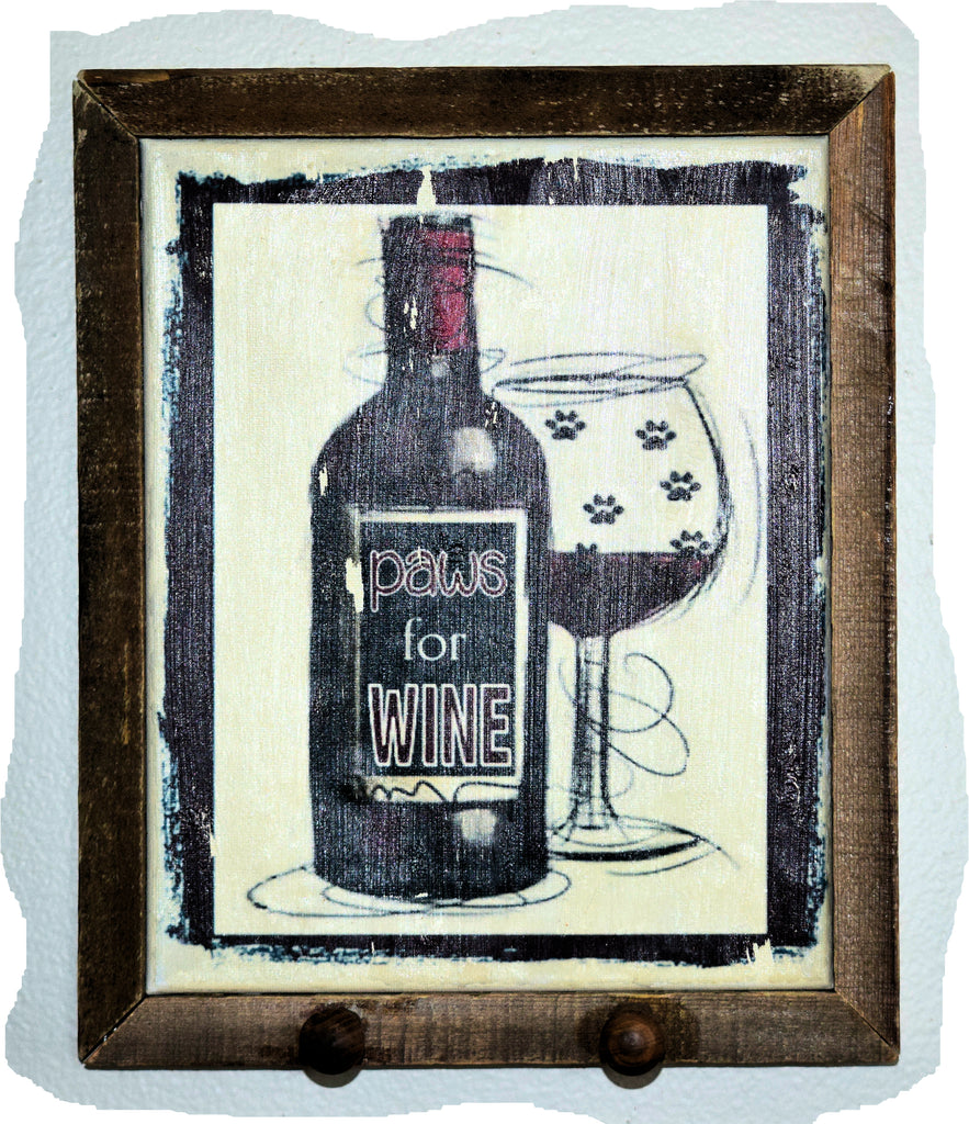 Paws for Wine Canvas Art Framed with Pegs