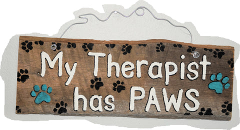 My therapist has paws (white lettering blue paws)