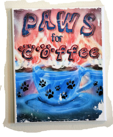 Paws for Coffee 8 x 10 Canvas Art (blue cup - red coffee)