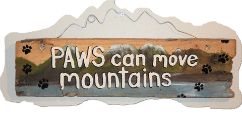 Paws can move mountains (white lettering blue water)