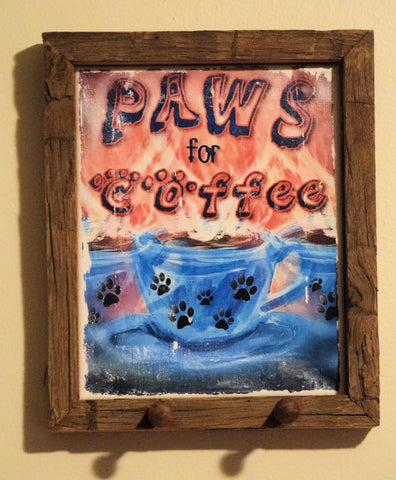 Paws for Coffee Canvas Art Framed with Pegs