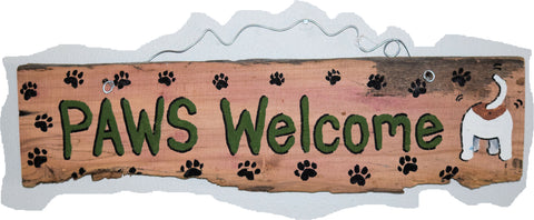 Paws Welcome (green - black paws)
