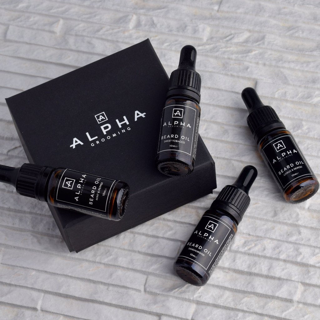 alpha grooming miniature beard oil gift box set citrus neroli mint pepper sandalwood sweet tobacco product Christmas xmas present
