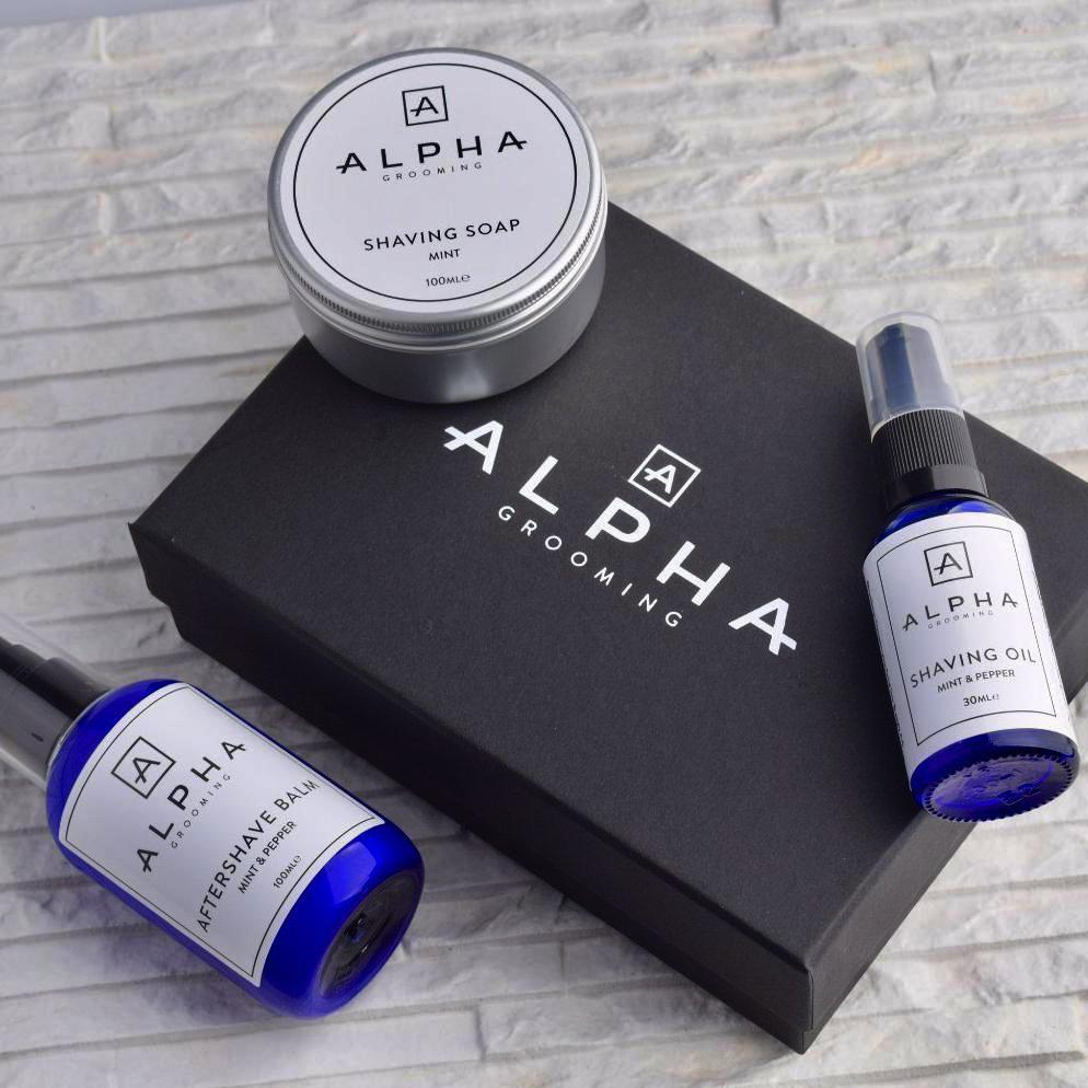 alpha grooming shave shaving gift box set mint pepper oil cream aftershave balm product Christmas present