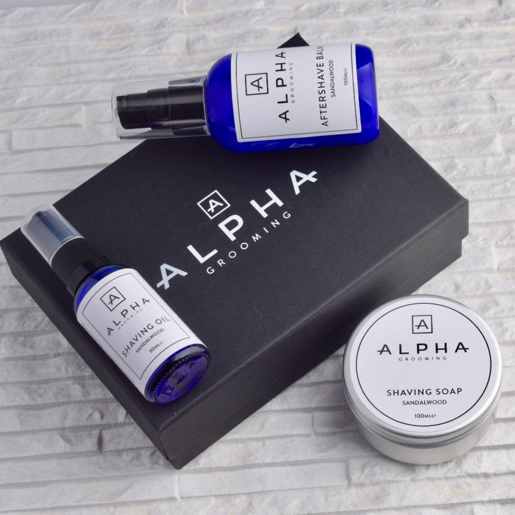 alpha grooming shave shaving gift box set sandalwood oil cream aftershave balm product Christmas present