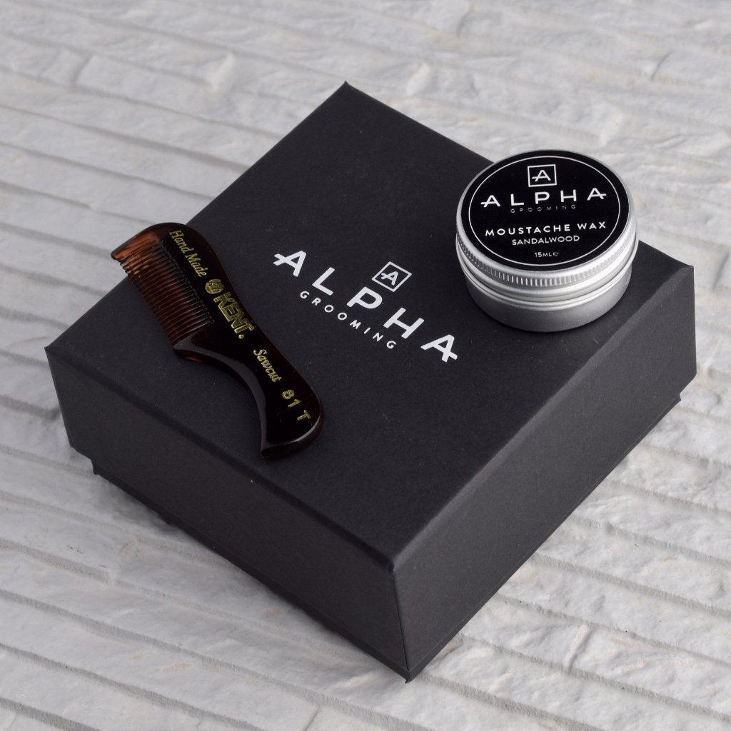 alpha grooming moustache wax sandalwood small beard comb gift box set Christmas present moustache beard
