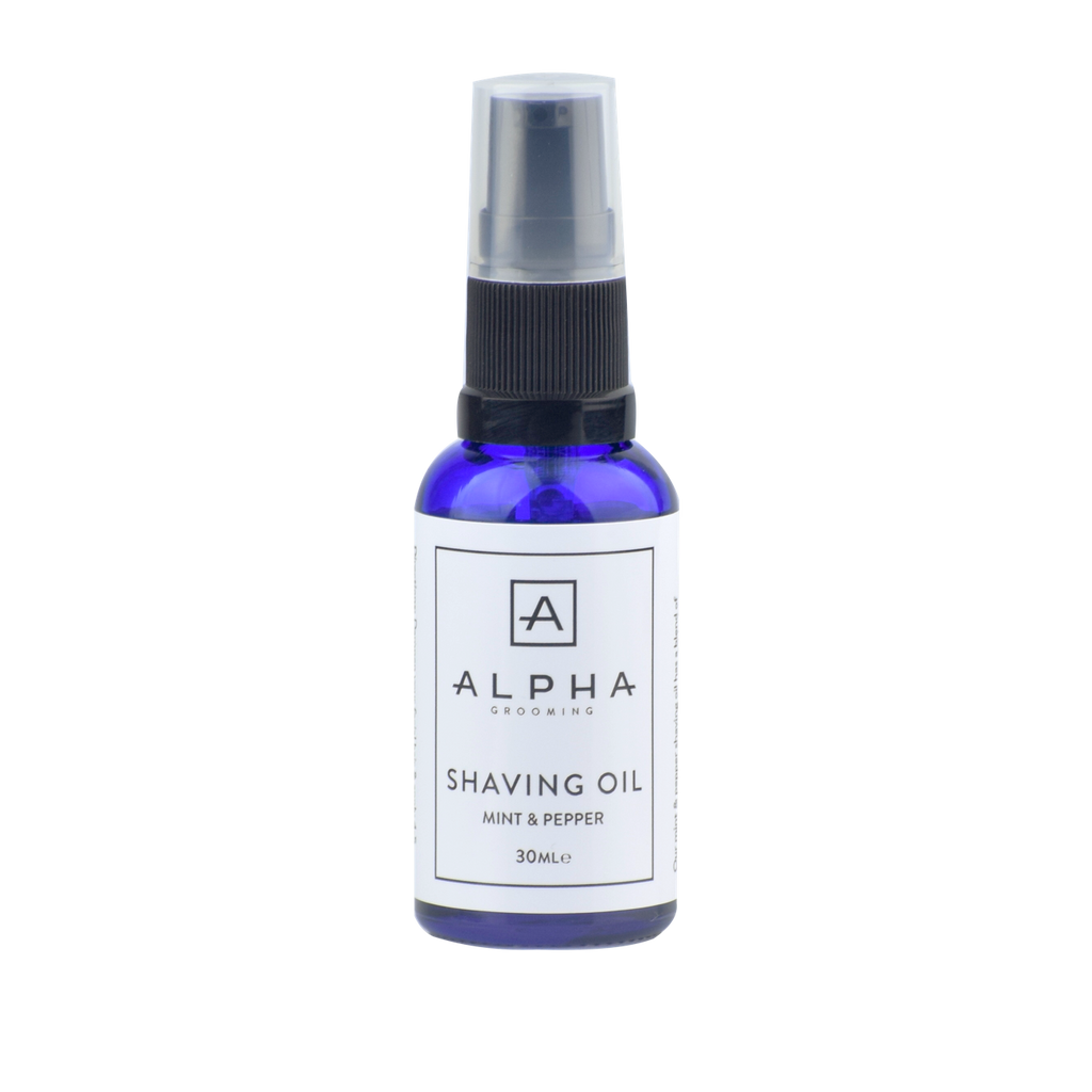 alpha grooming shave shaving oil mint pepper 30ml product male grooming shaving oil shaving cream aftershave balm mens products shave
