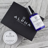 alpha grooming skin care gift set box clay facial cleanser moisturising gel mandarin lime basil face cloth flannel product Christmas present male grooming moisturiser facial clay