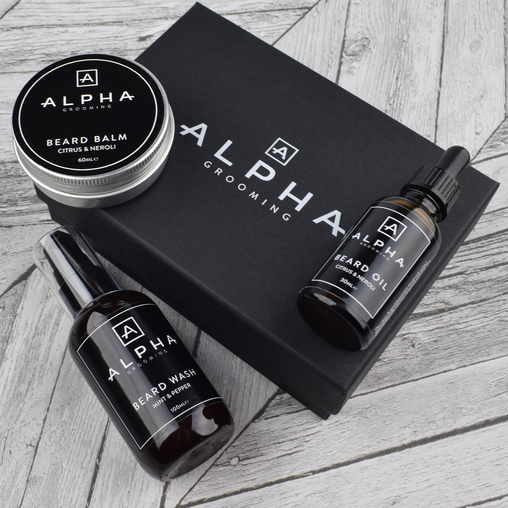 alpha grooming citrus neroli beard set gift box oil balm wash product Christmas xmas present
