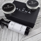 alpha grooming matte clay matt paste sea salt gift set Christmas present box barber products hair products matt clay matt paste