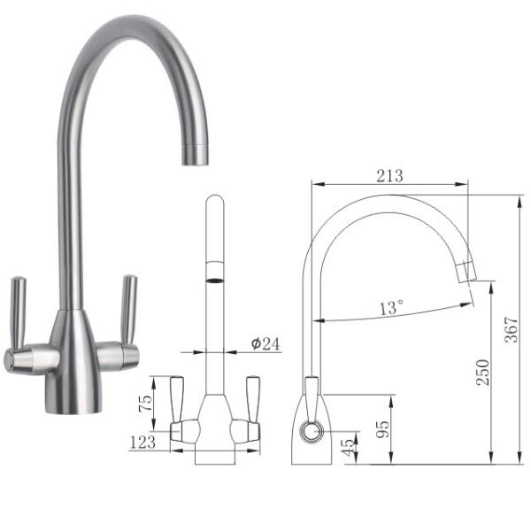 Brushed Dual Lever Kitchen Sink Mixer - TBAC12121