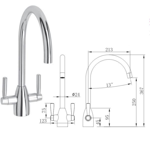 Dual Lever Kitchen Sink Mixer - TBAC2121