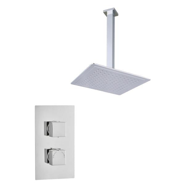 Square Concealed Thermostatic 2 Handle 1 Way Shower Kit (Ceiling Kit) - TBAC0008C