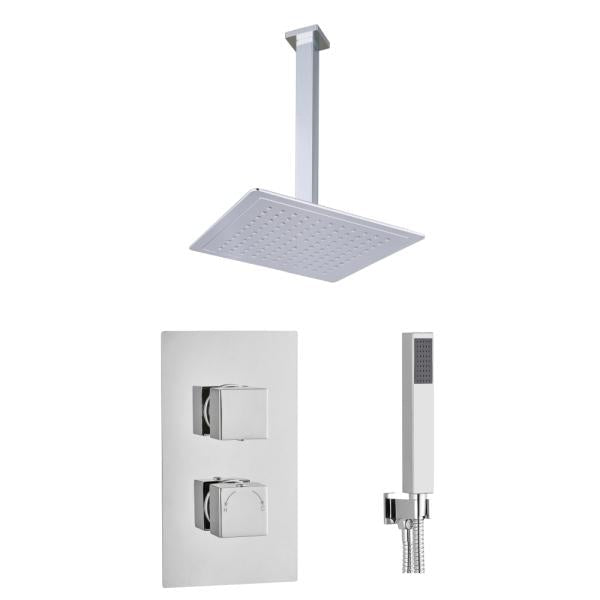 Square Concealed Thermostatic 2 Handle 2 Way Shower Kit (Ceiling Kit) - TBAC0010C