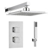 Square Concealed Thermostatic 2 Handle 2 Way Shower Kit (Wall Kit) - TBAC0010