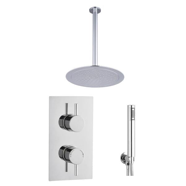 Round Concealed Thermostatic 2 Handle 2 Way Shower Kit (Ceiling Kit) - TBAC0011C