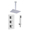 Square Concealed Thermostatic 3 Handle 2 Way Shower Kit (Ceiling Kit) - TBAC0012C