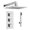 Square Concealed Thermostatic 3 Handle 2 Way Shower Kit (Wall Kit) - TBAC0012