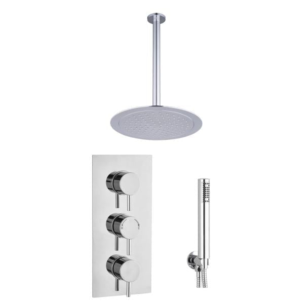 Round Concealed Thermostatic 3 Handle 2 Way Shower Kit (Ceiling Kit) - TBAC0013C