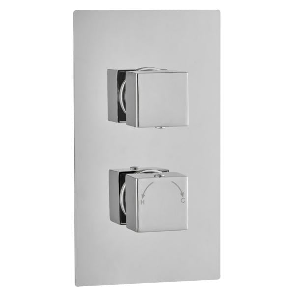 Square Concealed Thermostatic 2 Handle 2 Way Shower Valve - TBAC0024