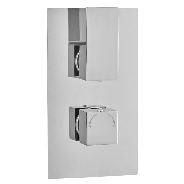 Long Square Concealed Thermostatic 2 Handle 2 Way Shower Valve - TBAC0026