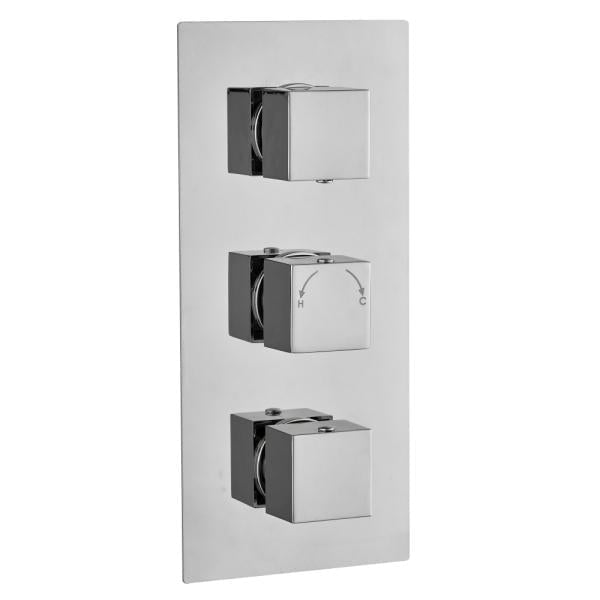 Square Concealed Thermostatic 3 Handle 2 Way Shower Valve - TBAC0027