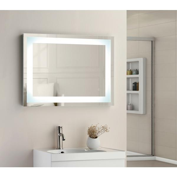 Square Strip LED Touch Mirror 800x600x45mm W/ Demist - TBAC3006