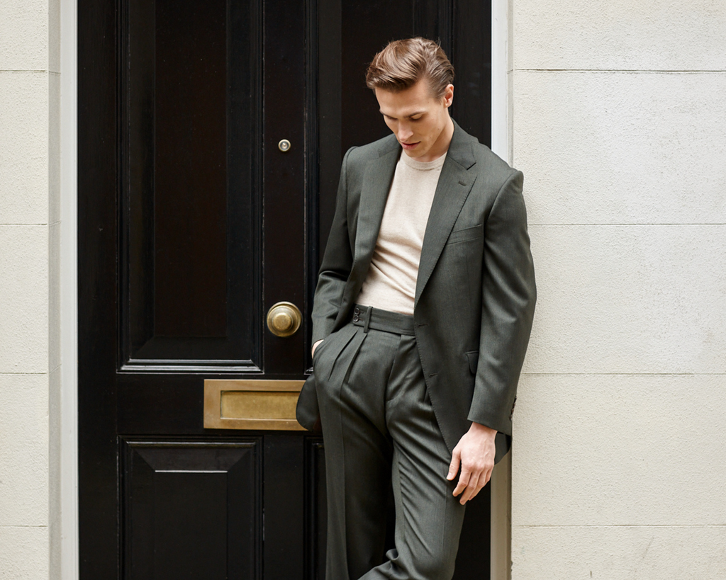 Crispaire Suit Jacket and Trousers in Forest Green