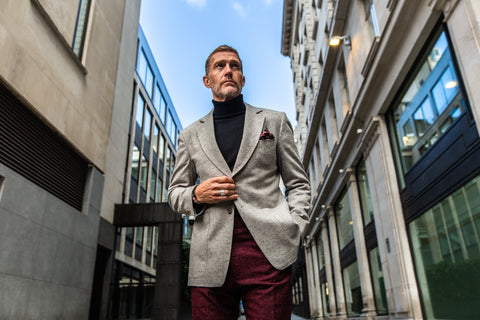 The Benson & Clegg Donegal Jacket in grey and the Benson & Clegg Donegal Trousers in berry