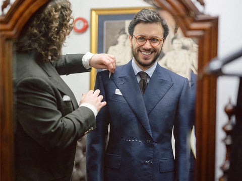 The Bespoke Dude's Fabio Attanasio being fitted for his bespoke Benson & Clegg blazer.