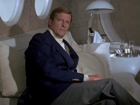 Sir Roger Moore as Ian Fleming's James Bond in Moonraker (1979). Of all the Bond interpretations, Moore's was the one most commonly associated with the blazer.