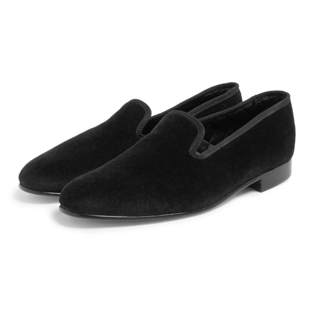 Plain Velvet Albert Slippers In Black Accessories Benson And Clegg