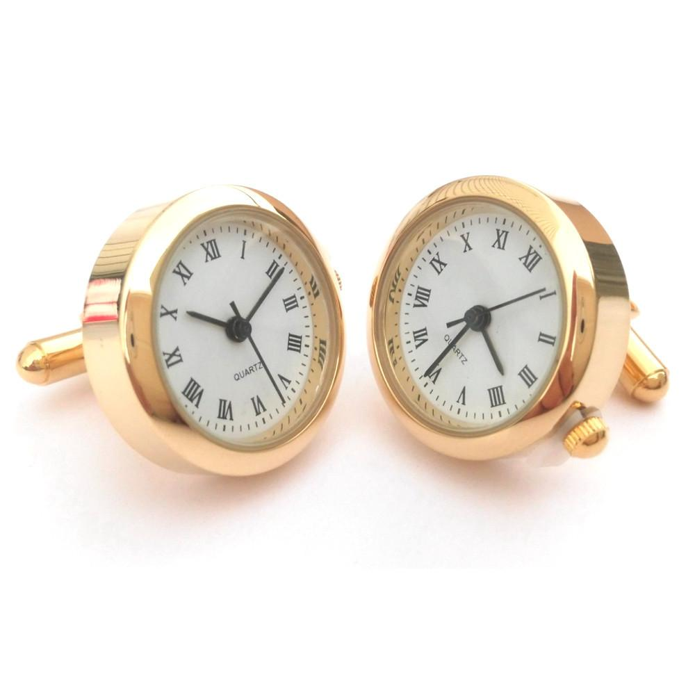 Round Watch Cufflinks (Gold)