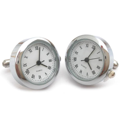Round Watch Cufflinks (Chrome)