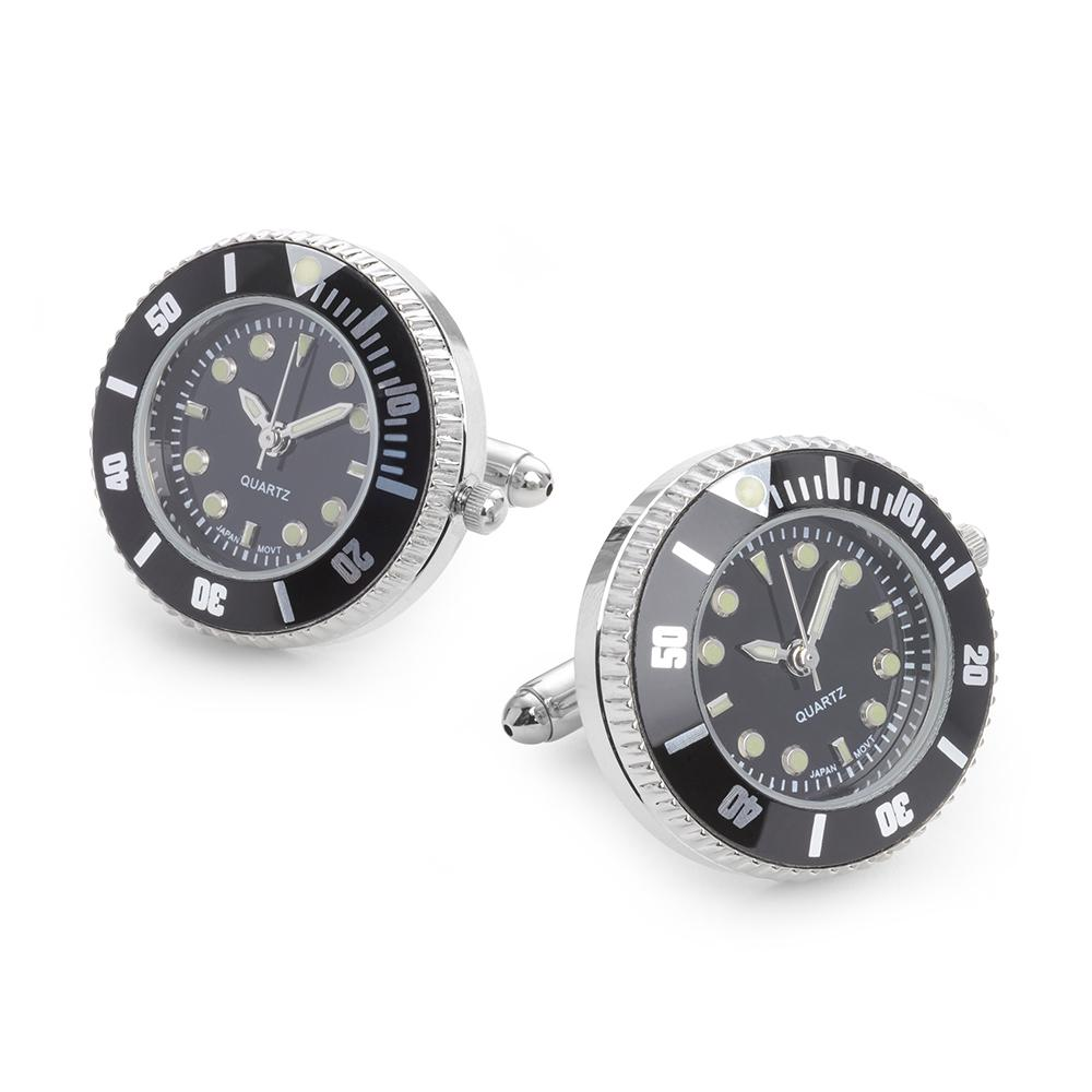 Luxury Watch Cufflinks In Black Enamel And Rhodium