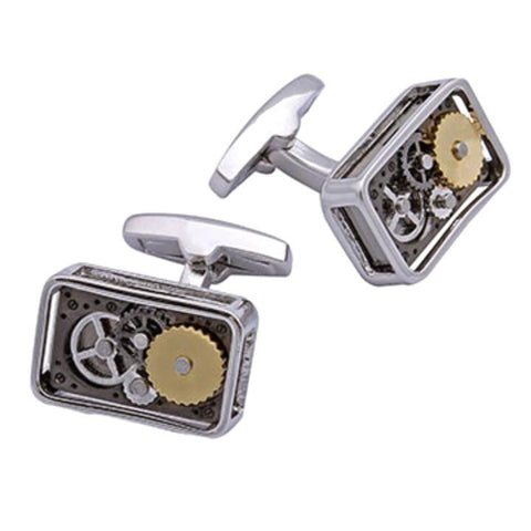 Gear Cufflinks (Rectangular Rhodium)