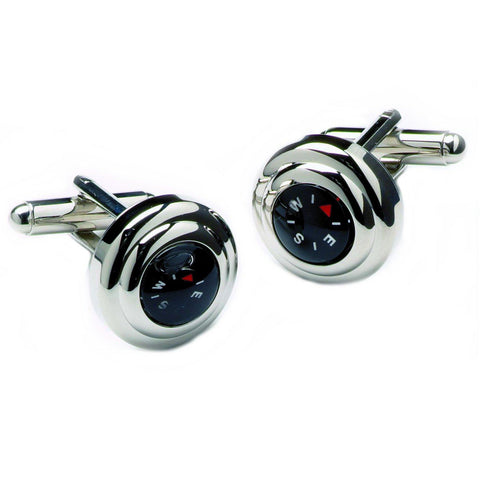Chrome Compass Cufflinks