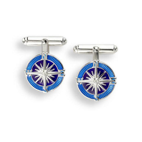 Compass With Blue Enamel And Sapphire Sterling Silver Cufflinks Cufflinks Benson And Clegg
