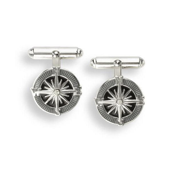 Compass With Grey Enamel And Sapphire Sterling Silver Cufflinks Cufflinks Benson And Clegg