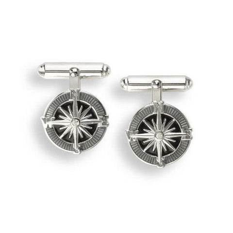 Compass With Grey Enamel And Sapphire Sterling Silver Cufflinks
