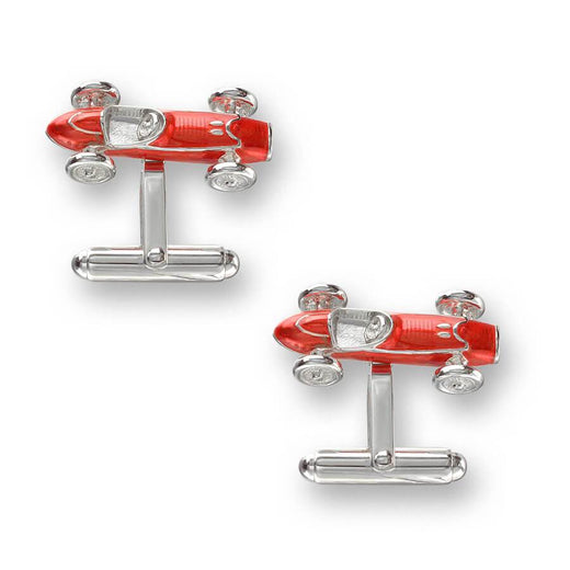 Racing Car (Red) Sterling Silver Cufflinks