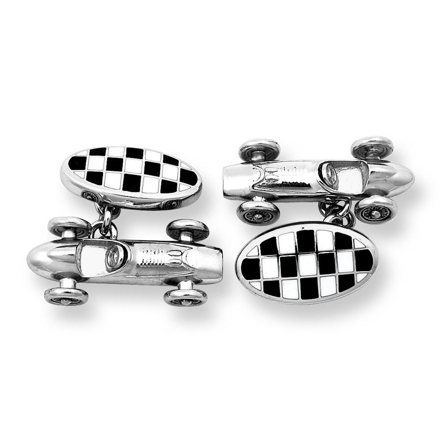 Racing Car With Checkerboard Cufflinks
