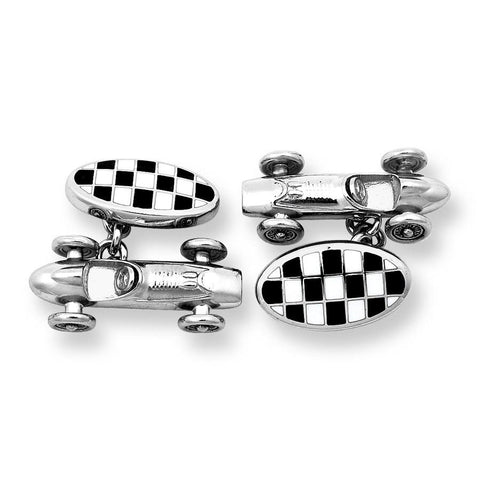Racing Car With Checkerboard Sterling Silver Cufflinks