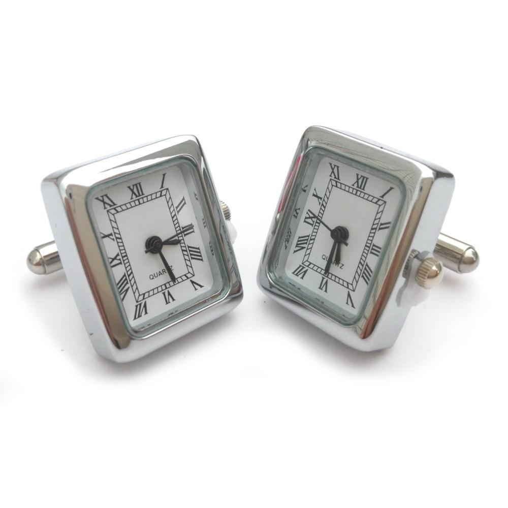 Rectangle Watch Cufflinks (Chrome)