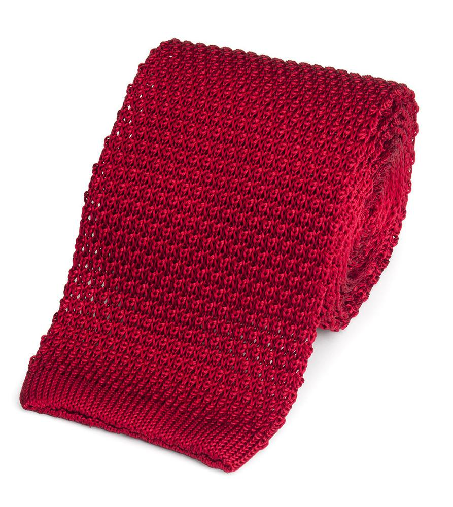 Knitted Silk (Red) Tie Neckwear Benson And Clegg