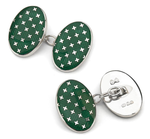 Cross Cloisonne Sterling Silver Cufflinks In Racing Green