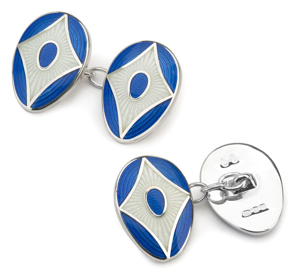 Shield Cloisonne Sterling Silver Cufflinks In Blue & Cream
