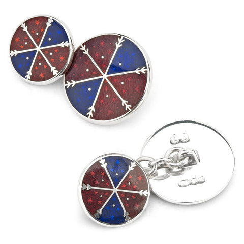 Geometric Cloisonne Cufflinks In Red & Blue